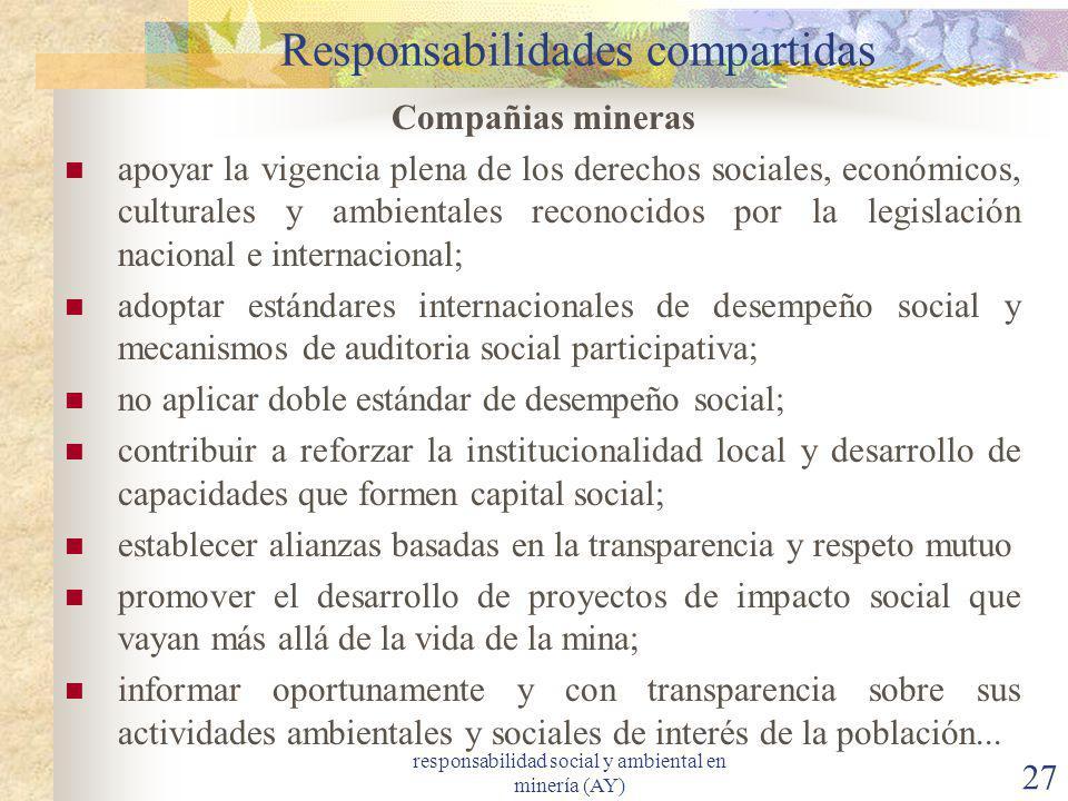 responsabilidad social y ambiental en minería (AY) 27 Responsabilidades compartidas Compañias mineras apoyar la vigencia plena de los derechos sociale