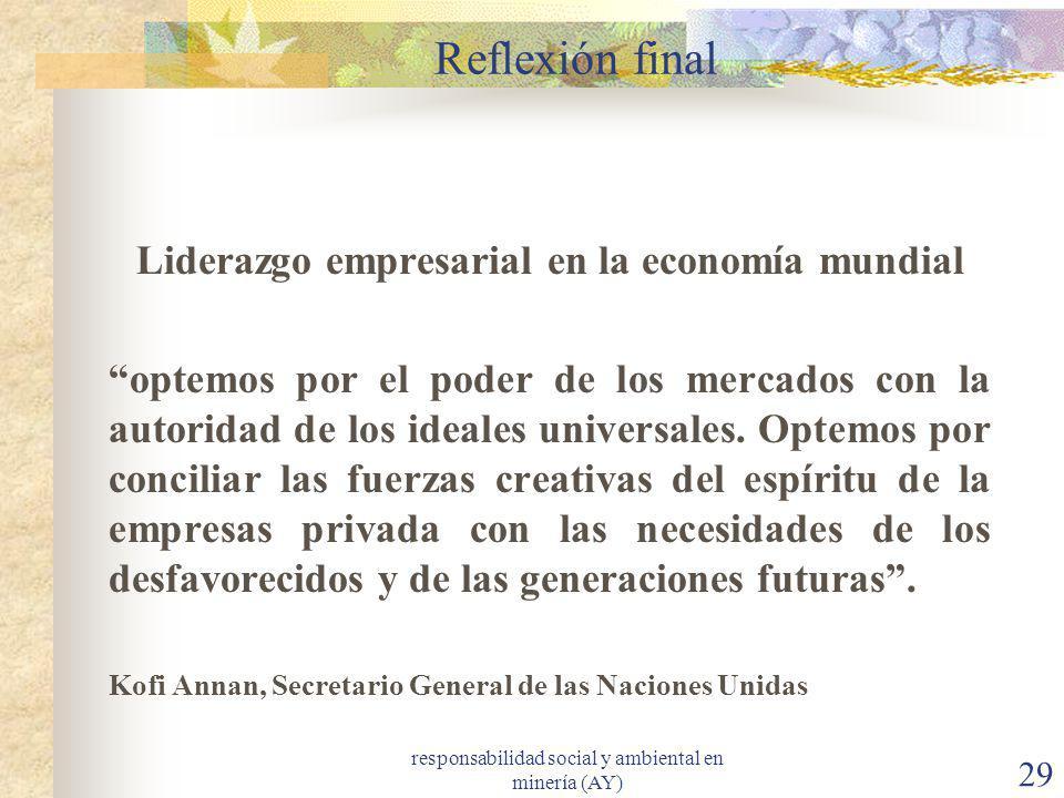 responsabilidad social y ambiental en minería (AY) 29 Reflexión final Liderazgo empresarial en la economía mundial optemos por el poder de los mercado