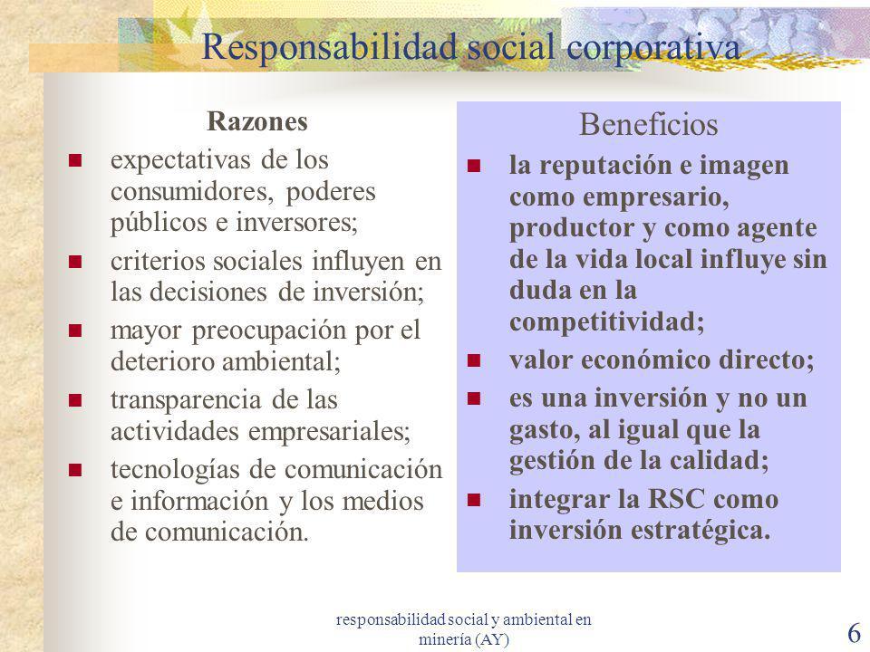 responsabilidad social y ambiental en minería (AY) 6 Responsabilidad social corporativa Razones expectativas de los consumidores, poderes públicos e i