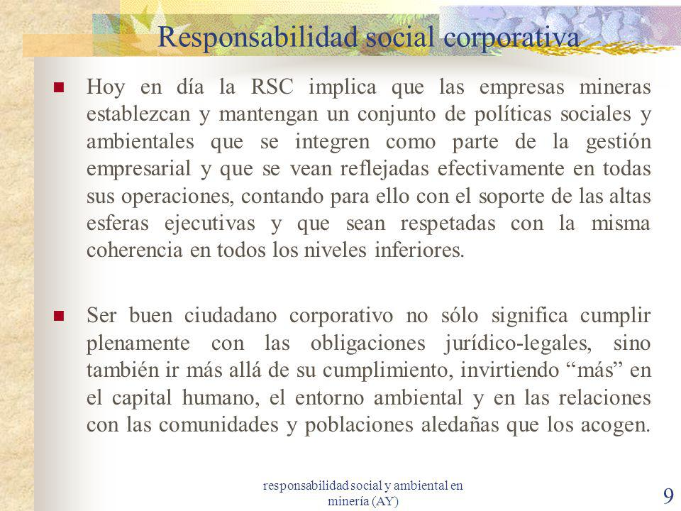 responsabilidad social y ambiental en minería (AY) 9 Responsabilidad social corporativa Hoy en día la RSC implica que las empresas mineras establezcan