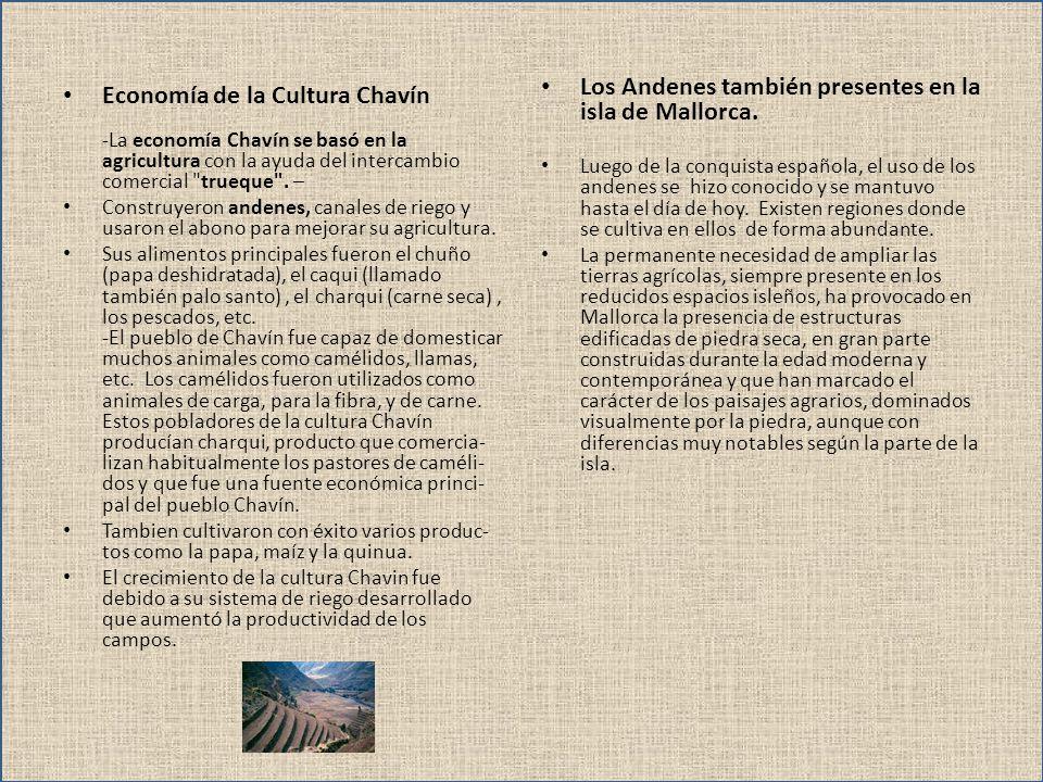 Economía de la Cultura Chavín -La economía Chavín se basó en la agricultura con la ayuda del intercambio comercial