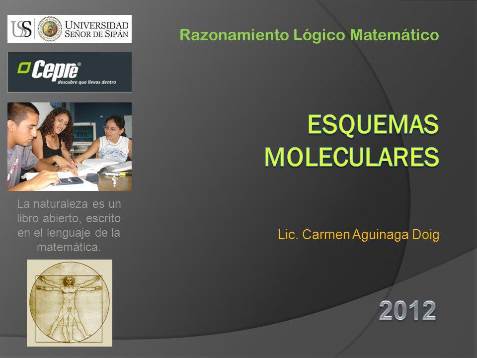 Lic. Carmen Aguinaga Doig Razonamiento Lógico Matemático La naturaleza es un libro abierto, escrito en el lenguaje de la matemática.