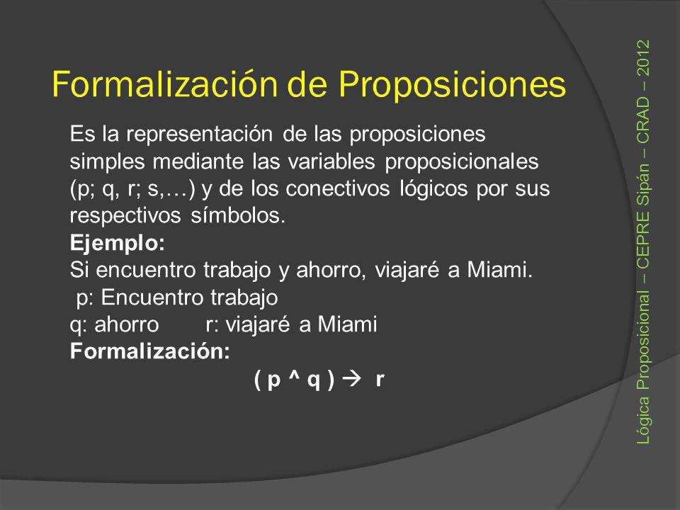 Formalización de Proposiciones Es la representación de las proposiciones simples mediante las variables proposicionales (p; q, r; s,…) y de los conect
