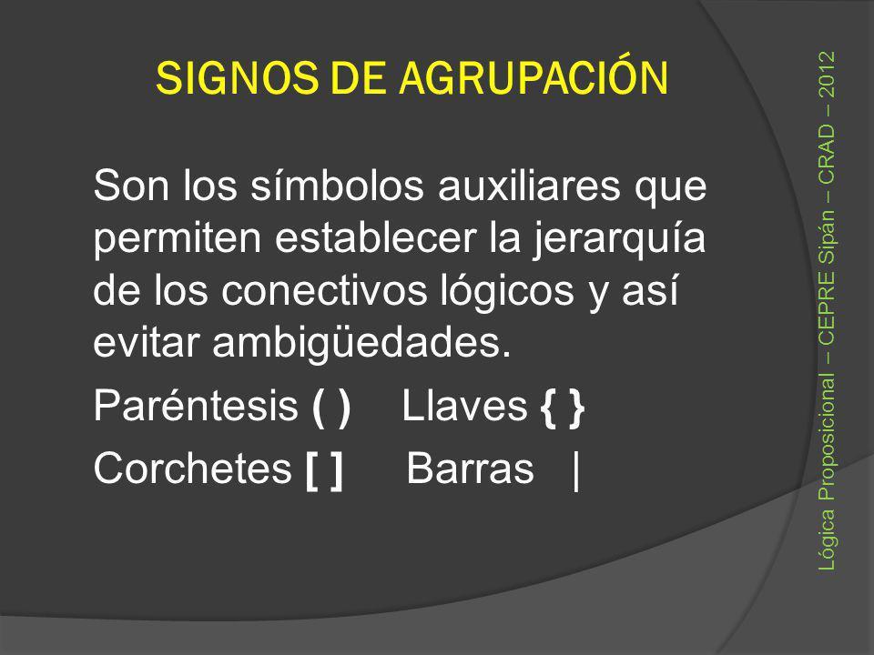 SIGNOS DE AGRUPACIÓN Son los símbolos auxiliares que permiten establecer la jerarquía de los conectivos lógicos y así evitar ambigüedades. Paréntesis