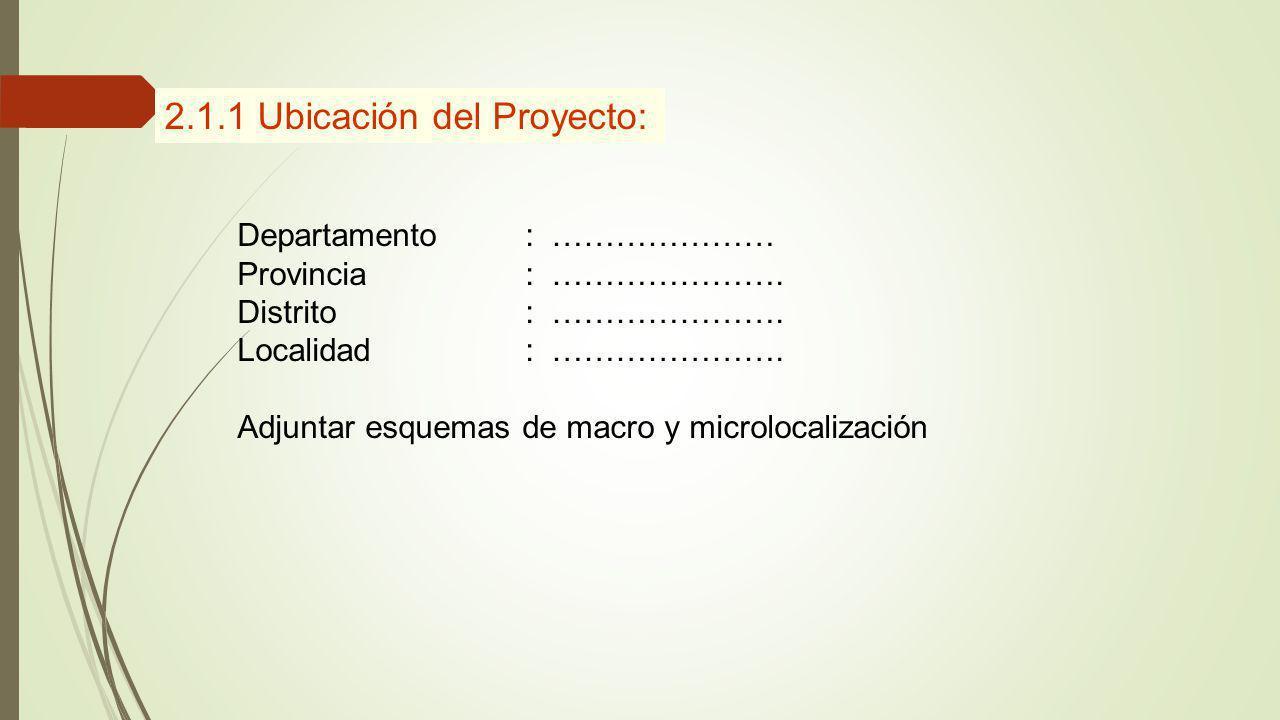 2.1.1 Ubicación del Proyecto: Departamento: ………………… Provincia: …………………. Distrito: …………………. Localidad: …………………. Adjuntar esquemas de macro y microlocal