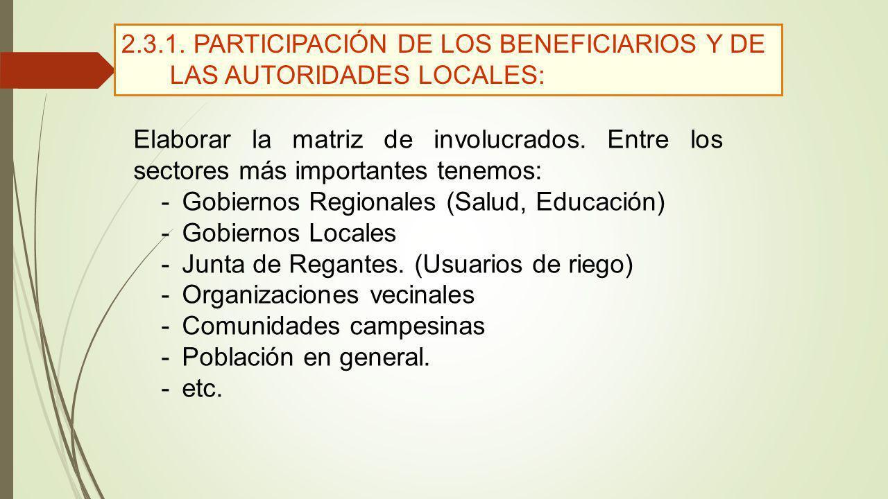 2.3.1. PARTICIPACIÓN DE LOS BENEFICIARIOS Y DE LAS AUTORIDADES LOCALES: Elaborar la matriz de involucrados. Entre los sectores más importantes tenemos