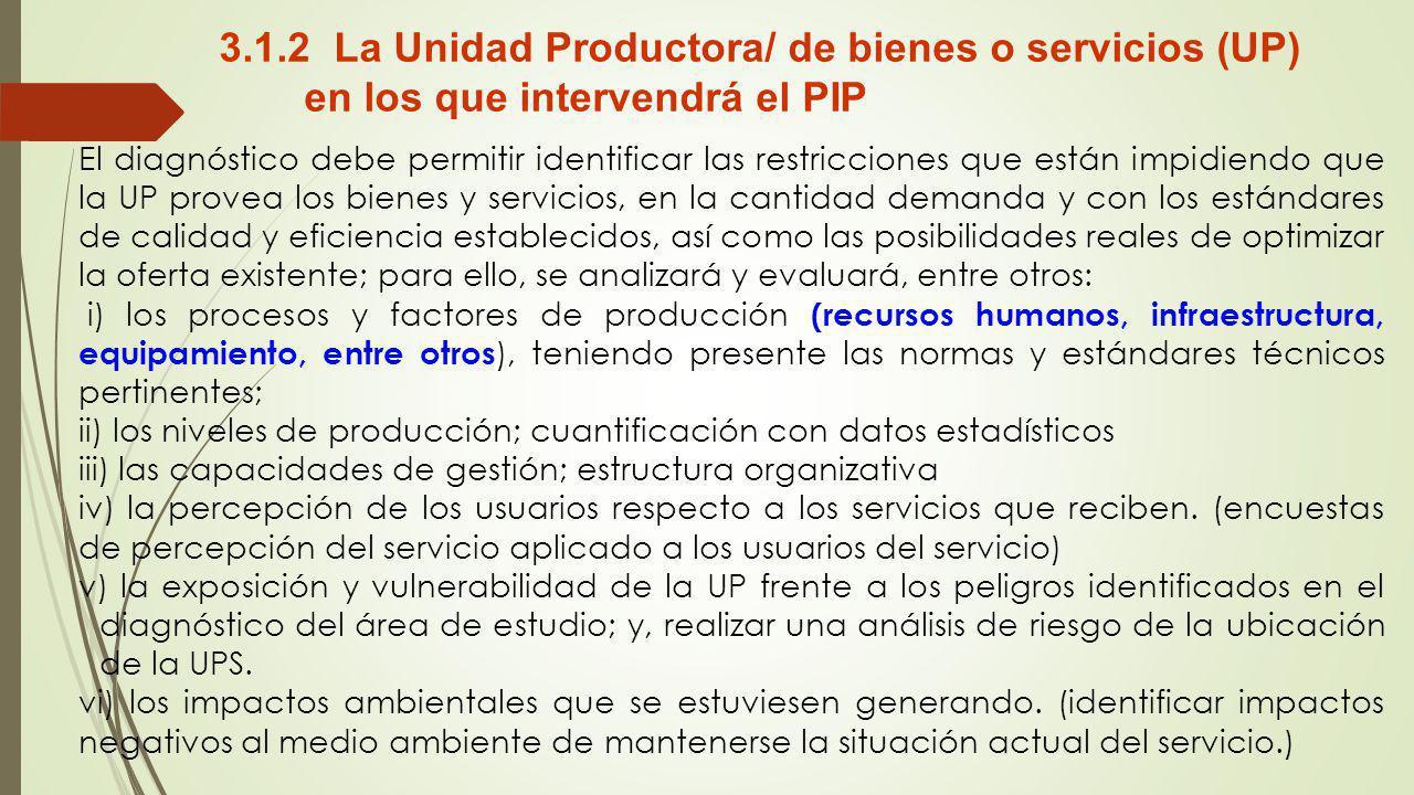 3.1.2 La Unidad Productora/ de bienes o servicios (UP) en los que intervendrá el PIP El diagnóstico debe permitir identificar las restricciones que es