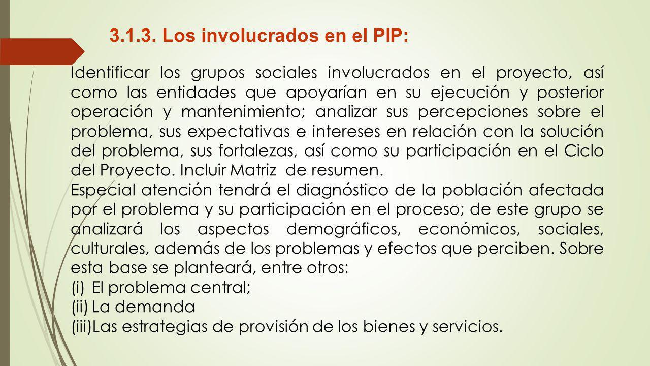 3.1.3. Los involucrados en el PIP: Identificar los grupos sociales involucrados en el proyecto, así como las entidades que apoyarían en su ejecución y