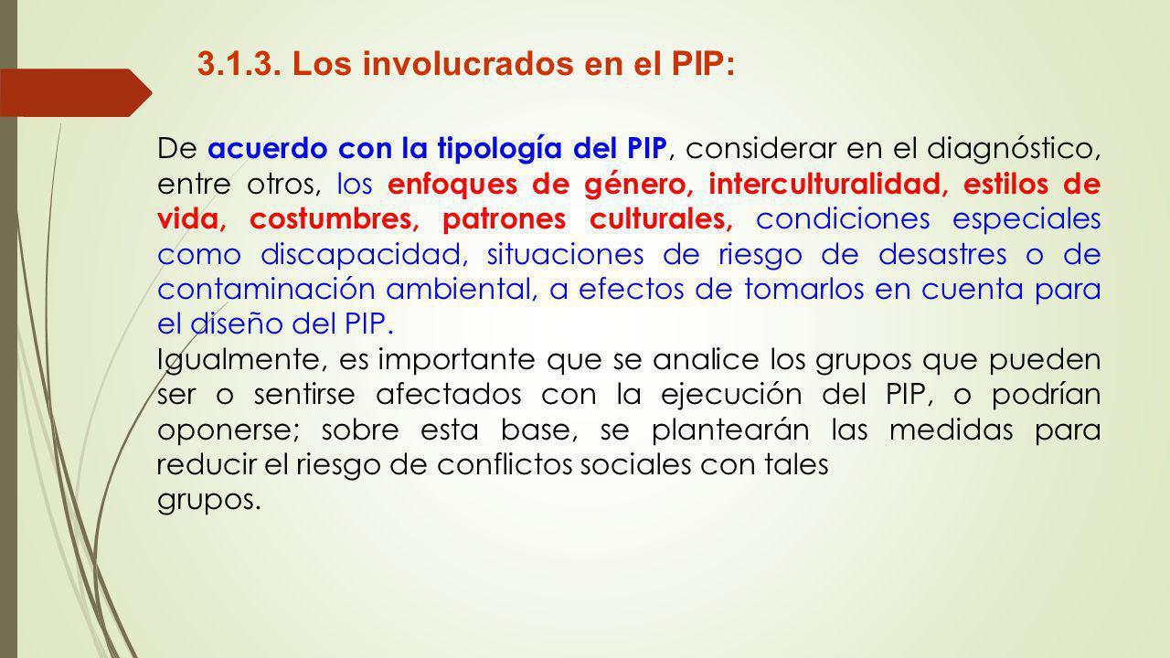 3.1.3. Los involucrados en el PIP: De acuerdo con la tipología del PIP, considerar en el diagnóstico, entre otros, los enfoques de género, intercultur