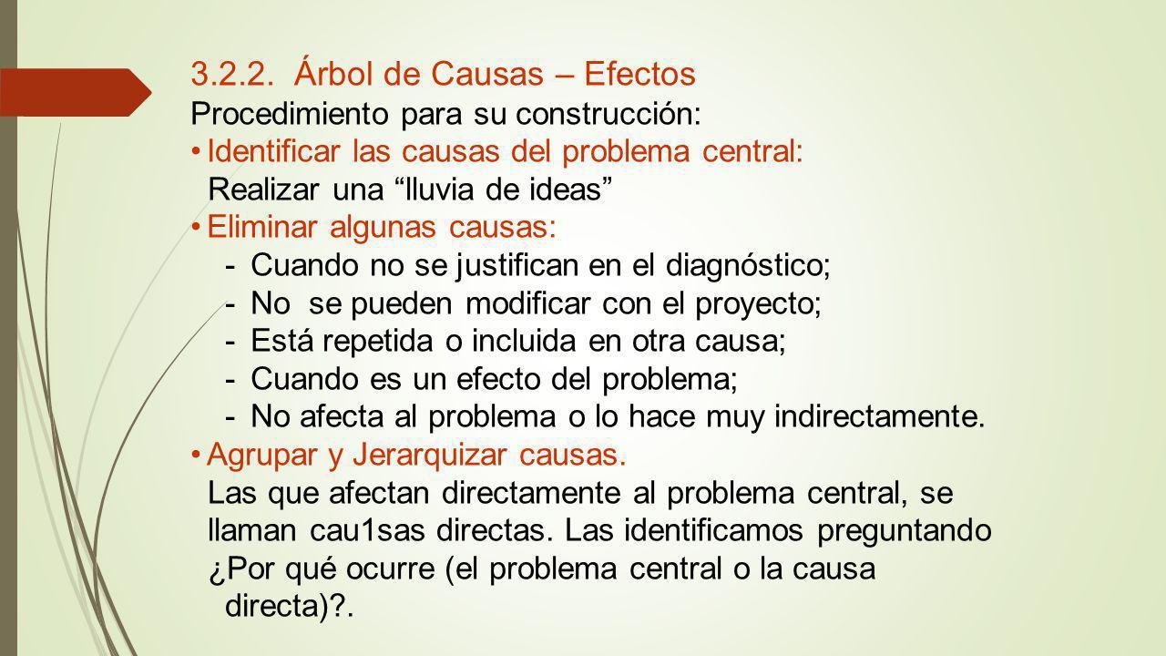 3.2.2. Árbol de Causas – Efectos Procedimiento para su construcción: Identificar las causas del problema central: Realizar una lluvia de ideas Elimina