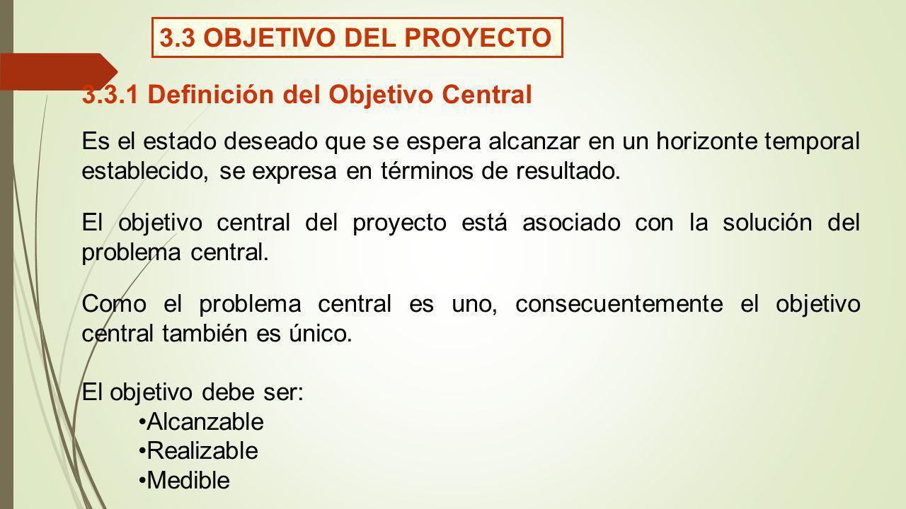3.3 OBJETIVO DEL PROYECTO 3.3.1 Definición del Objetivo Central Es el estado deseado que se espera alcanzar en un horizonte temporal establecido, se e