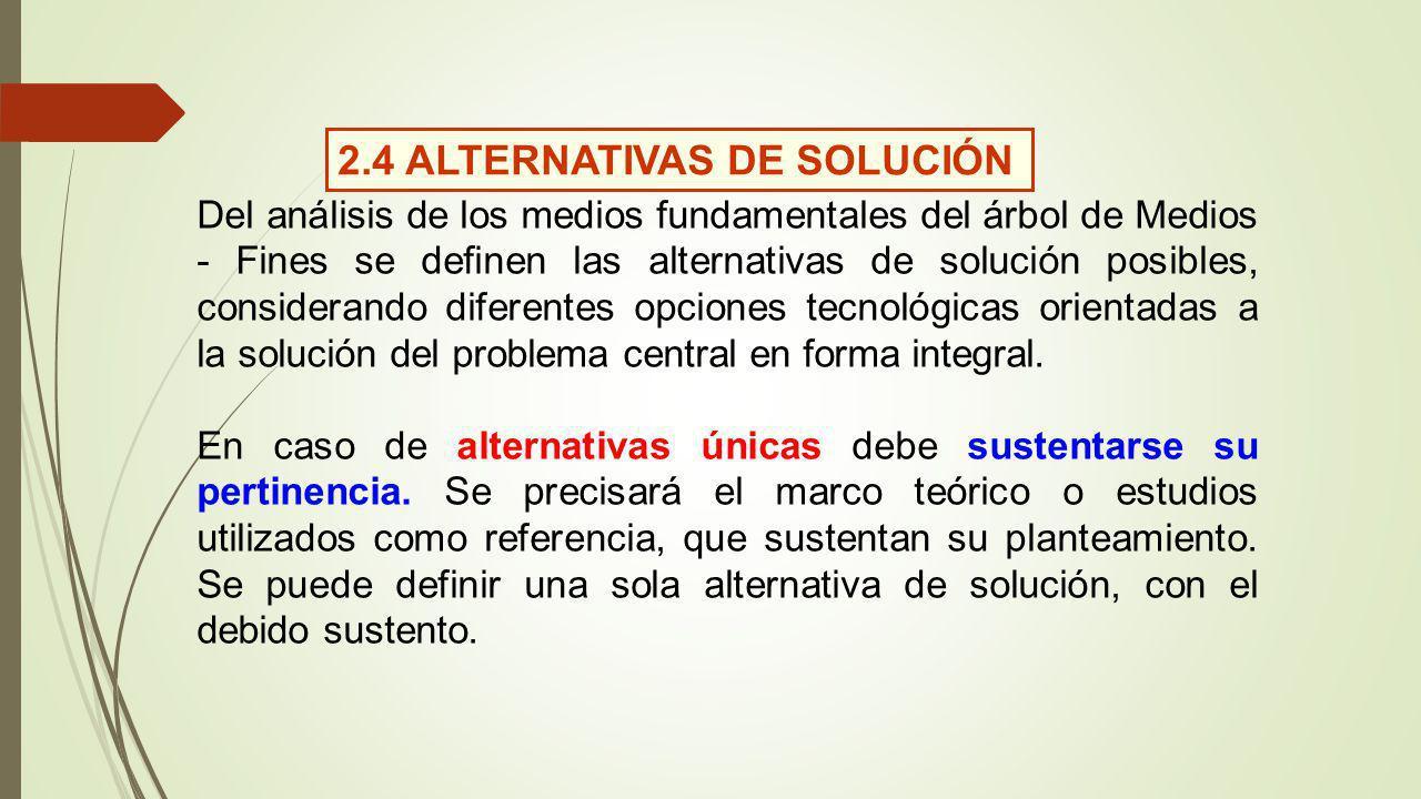 Del análisis de los medios fundamentales del árbol de Medios - Fines se definen las alternativas de solución posibles, considerando diferentes opciones tecnológicas orientadas a la solución del problema central en forma integral.