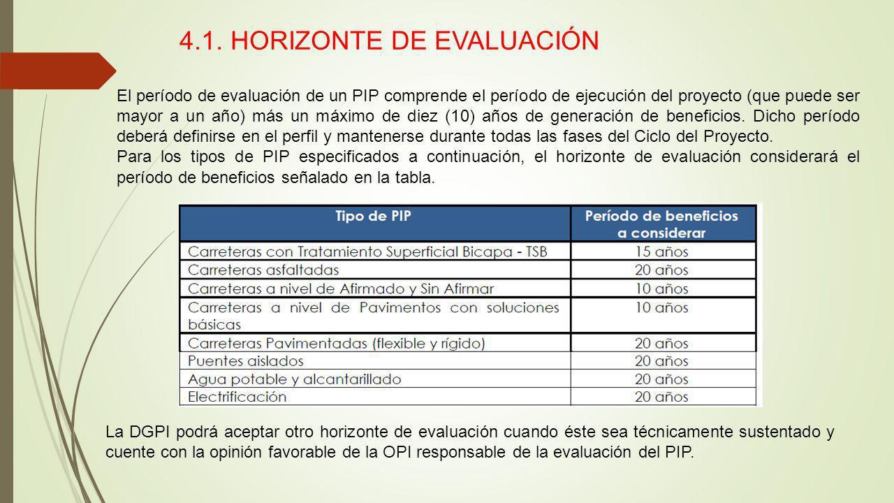 4.1. HORIZONTE DE EVALUACIÓN El período de evaluación de un PIP comprende el período de ejecución del proyecto (que puede ser mayor a un año) más un m