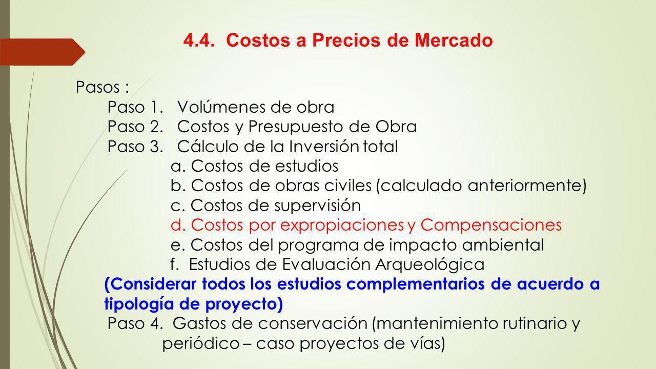Pasos : Paso 1. Volúmenes de obra Paso 2. Costos y Presupuesto de Obra Paso 3. Cálculo de la Inversión total a. Costos de estudios b. Costos de obras