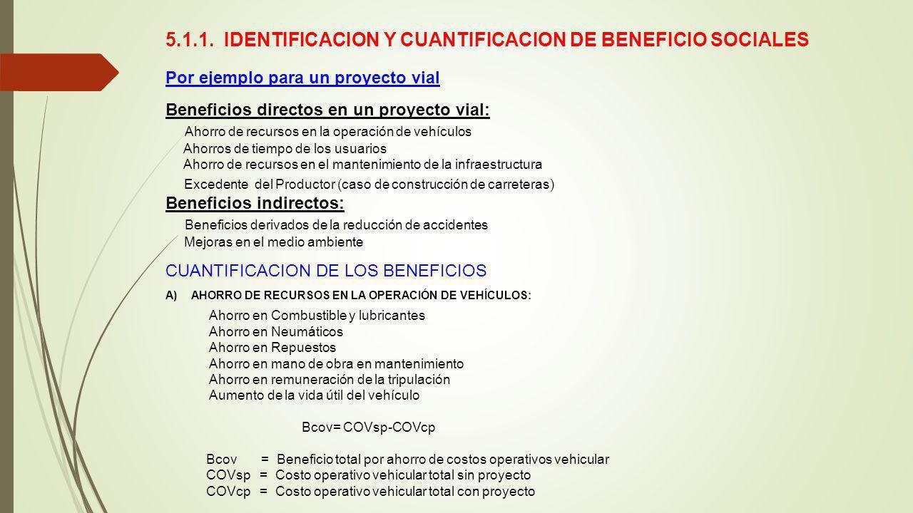 5.1.1. IDENTIFICACION Y CUANTIFICACION DE BENEFICIO SOCIALES Por ejemplo para un proyecto vial Beneficios directos en un proyecto vial: Ahorro de recu