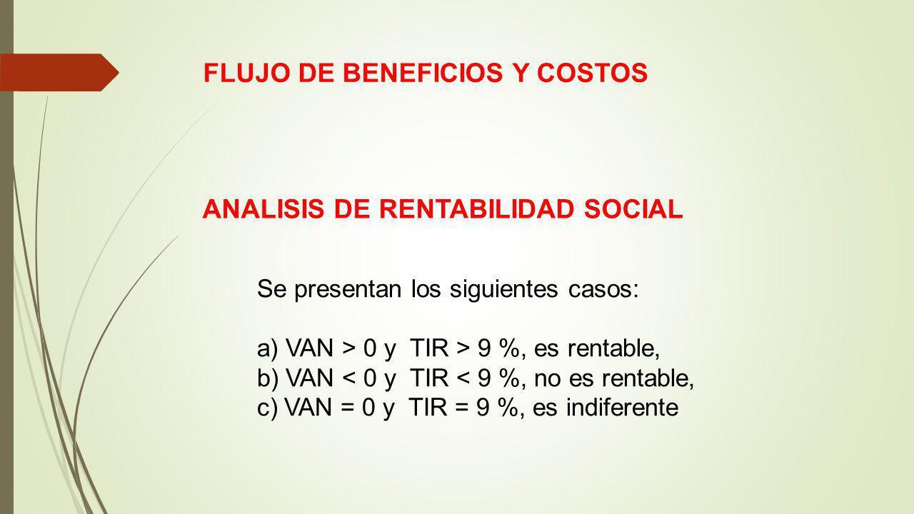 FLUJO DE BENEFICIOS Y COSTOS ANALISIS DE RENTABILIDAD SOCIAL Se presentan los siguientes casos: a) VAN > 0 y TIR > 9 %, es rentable, b) VAN < 0 y TIR < 9 %, no es rentable, c) VAN = 0 y TIR = 9 %, es indiferente
