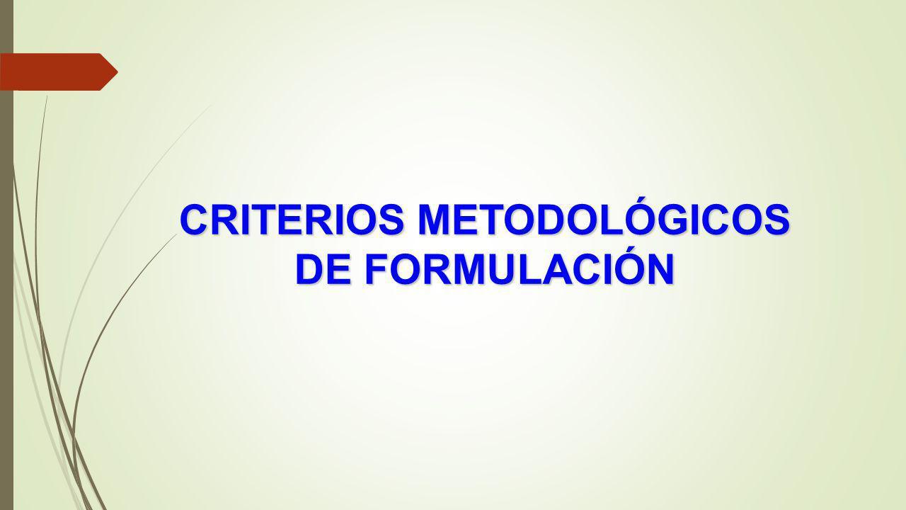 CRITERIOS METODOLÓGICOS DE FORMULACIÓN