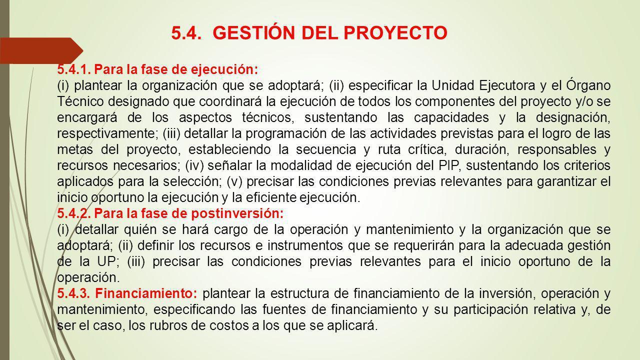 5.4. GESTIÓN DEL PROYECTO 5.4.1. Para la fase de ejecución: (i) plantear la organización que se adoptará; (ii) especificar la Unidad Ejecutora y el Ór