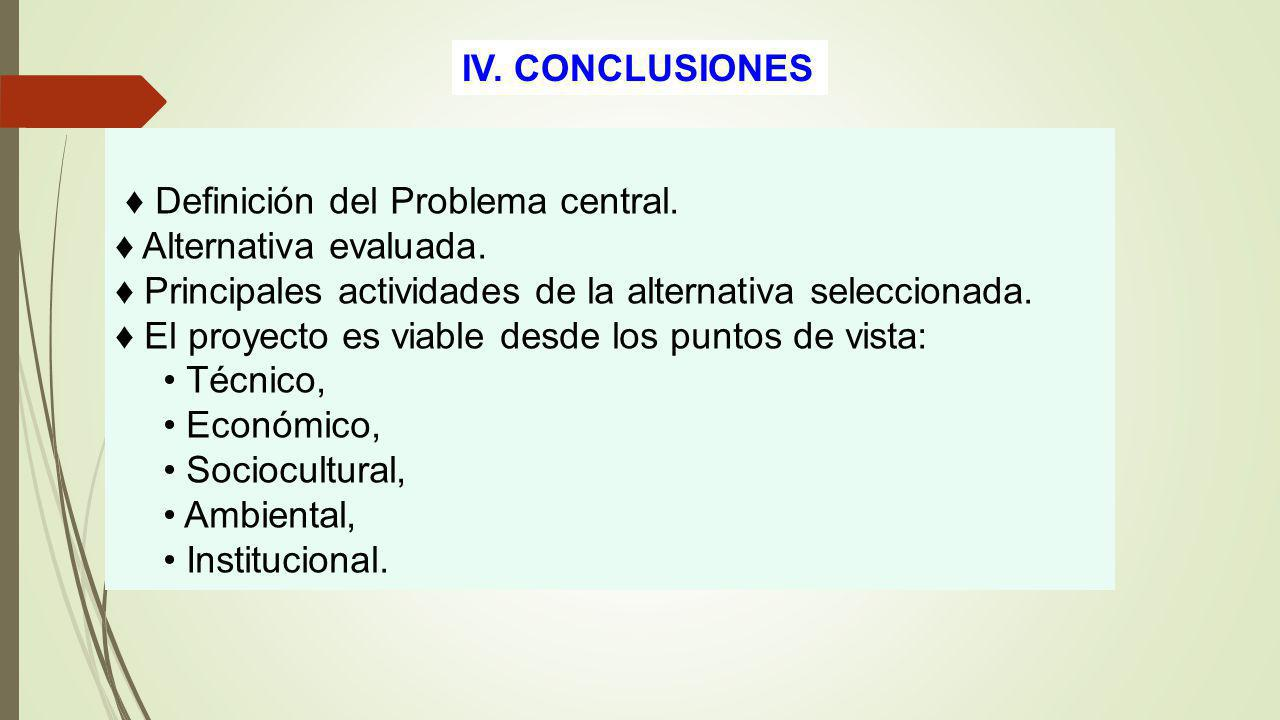 IV. CONCLUSIONES Definición del Problema central. Alternativa evaluada. Principales actividades de la alternativa seleccionada. El proyecto es viable