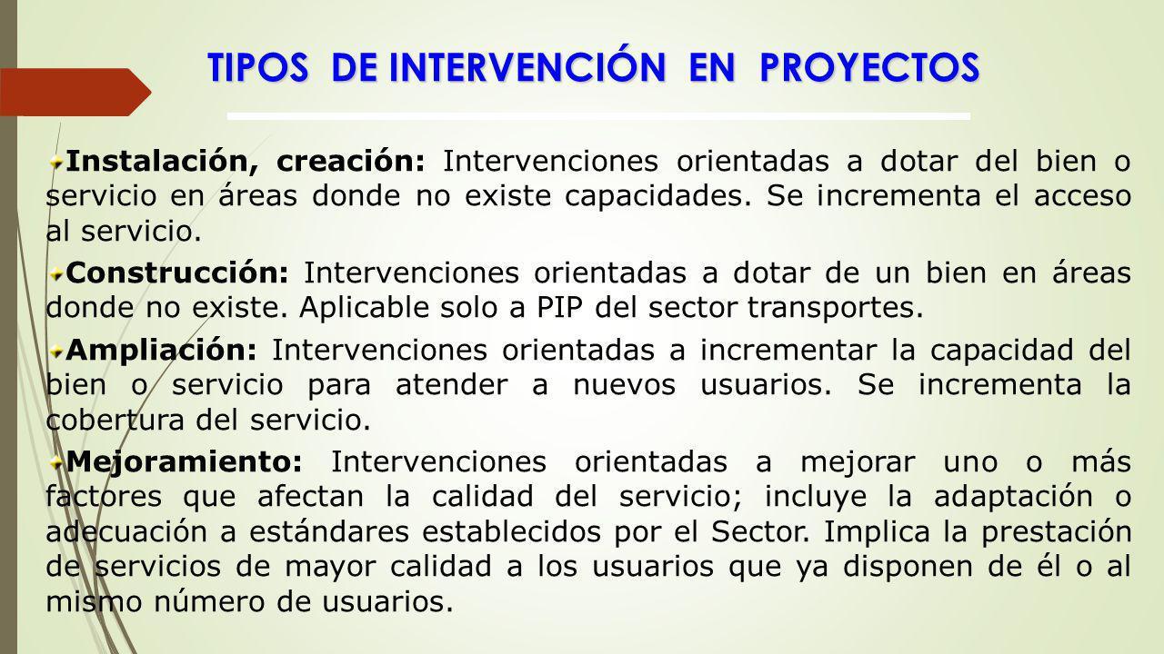TIPOS DE INTERVENCIÓN EN PROYECTOS Instalación, creación: Intervenciones orientadas a dotar del bien o servicio en áreas donde no existe capacidades.