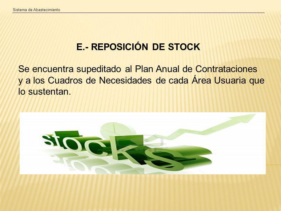 Sistema de Abastecimiento E.- REPOSICIÓN DE STOCK Se encuentra supeditado al Plan Anual de Contrataciones y a los Cuadros de Necesidades de cada Área Usuaria que lo sustentan.
