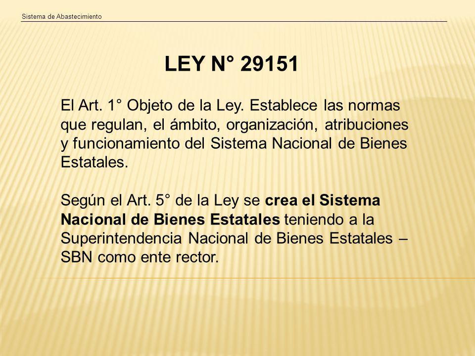 Sistema de Abastecimiento El Art.1° Objeto de la Ley.