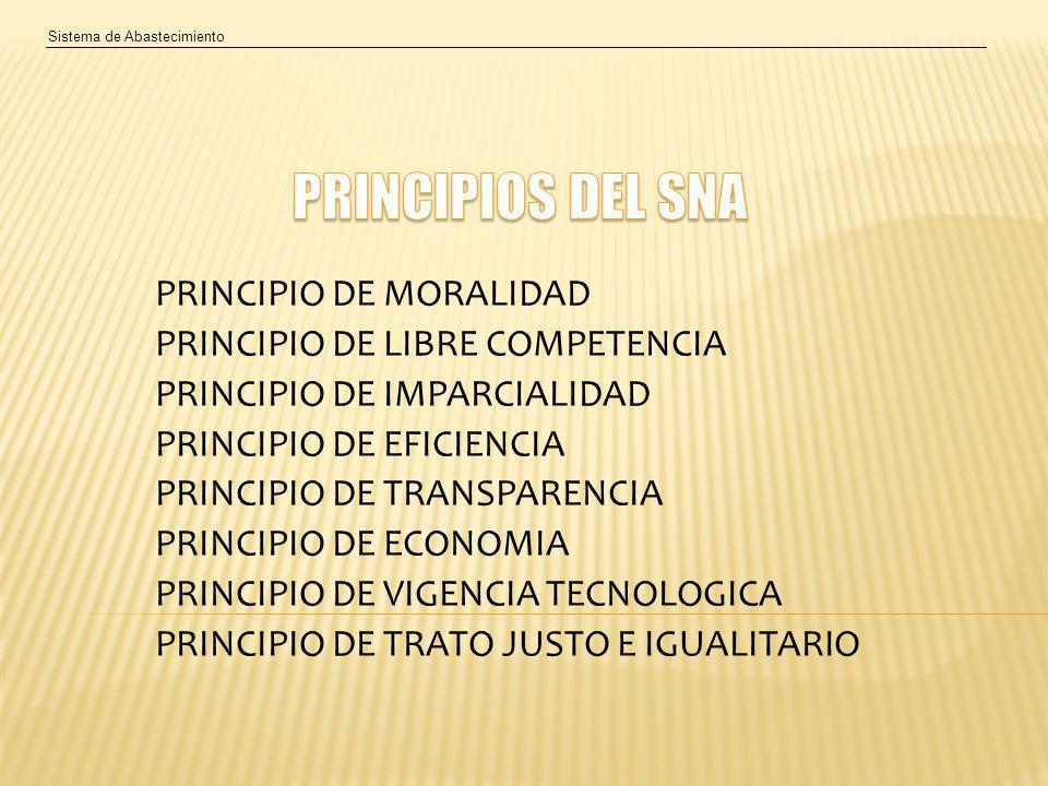 Sistema de Abastecimiento PRINCIPIO DE MORALIDAD PRINCIPIO DE LIBRE COMPETENCIA PRINCIPIO DE IMPARCIALIDAD PRINCIPIO DE EFICIENCIA PRINCIPIO DE TRANSPARENCIA PRINCIPIO DE ECONOMIA PRINCIPIO DE VIGENCIA TECNOLOGICA PRINCIPIO DE TRATO JUSTO E IGUALITARIO