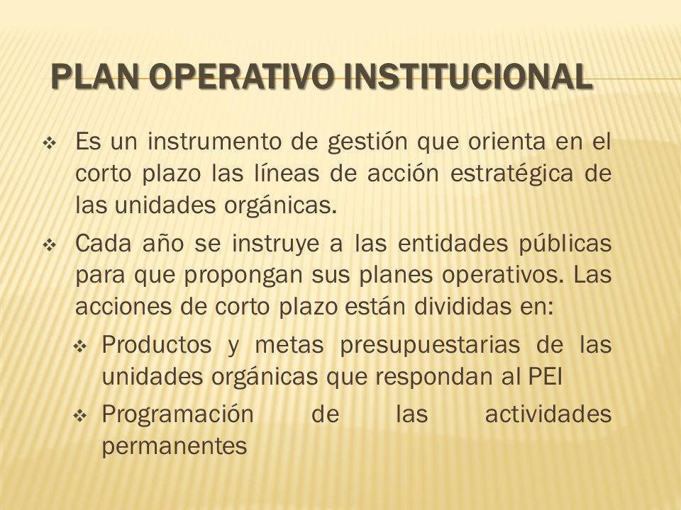 PLAN OPERATIVO INSTITUCIONAL Es un instrumento de gestión que orienta en el corto plazo las líneas de acción estratégica de las unidades orgánicas.