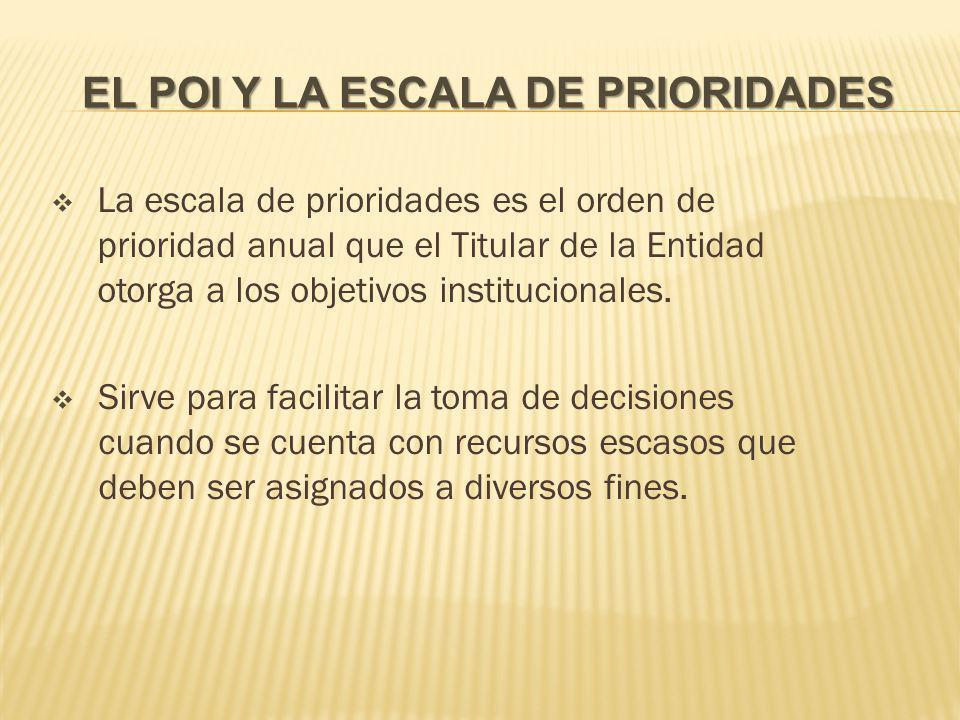 EL POI Y LA ESCALA DE PRIORIDADES La escala de prioridades es el orden de prioridad anual que el Titular de la Entidad otorga a los objetivos institucionales.