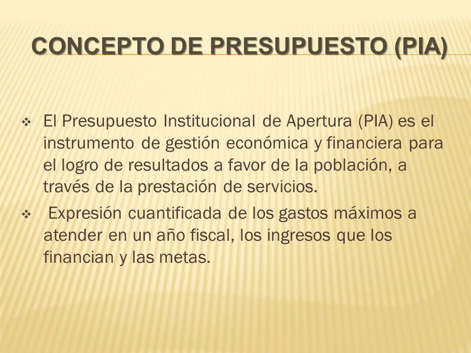 CONCEPTO DE PRESUPUESTO (PIA) El Presupuesto Institucional de Apertura (PIA) es el instrumento de gestión económica y financiera para el logro de resultados a favor de la población, a través de la prestación de servicios.