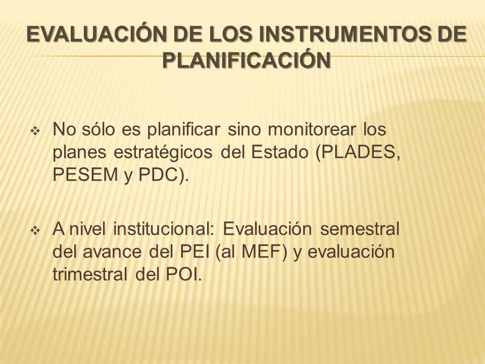 EVALUACIÓN DE LOS INSTRUMENTOS DE PLANIFICACIÓN No sólo es planificar sino monitorear los planes estratégicos del Estado (PLADES, PESEM y PDC).