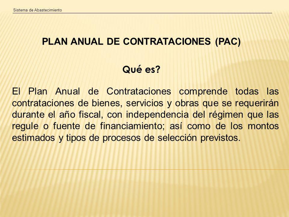 Sistema de Abastecimiento PLAN ANUAL DE CONTRATACIONES (PAC) Qué es.