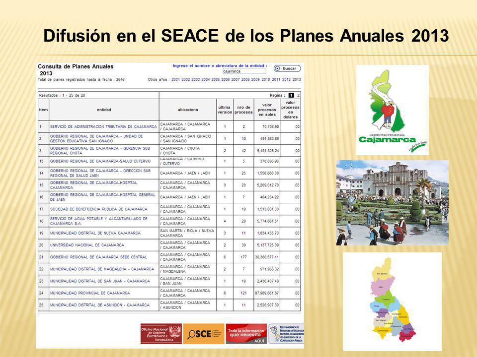 Difusión en el SEACE de los Planes Anuales 2013