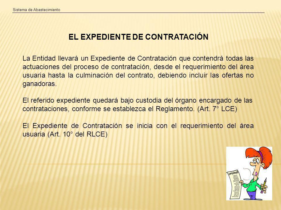 EL EXPEDIENTE DE CONTRATACIÓN La Entidad llevará un Expediente de Contratación que contendrá todas las actuaciones del proceso de contratación, desde el requerimiento del área usuaria hasta la culminación del contrato, debiendo incluir las ofertas no ganadoras.