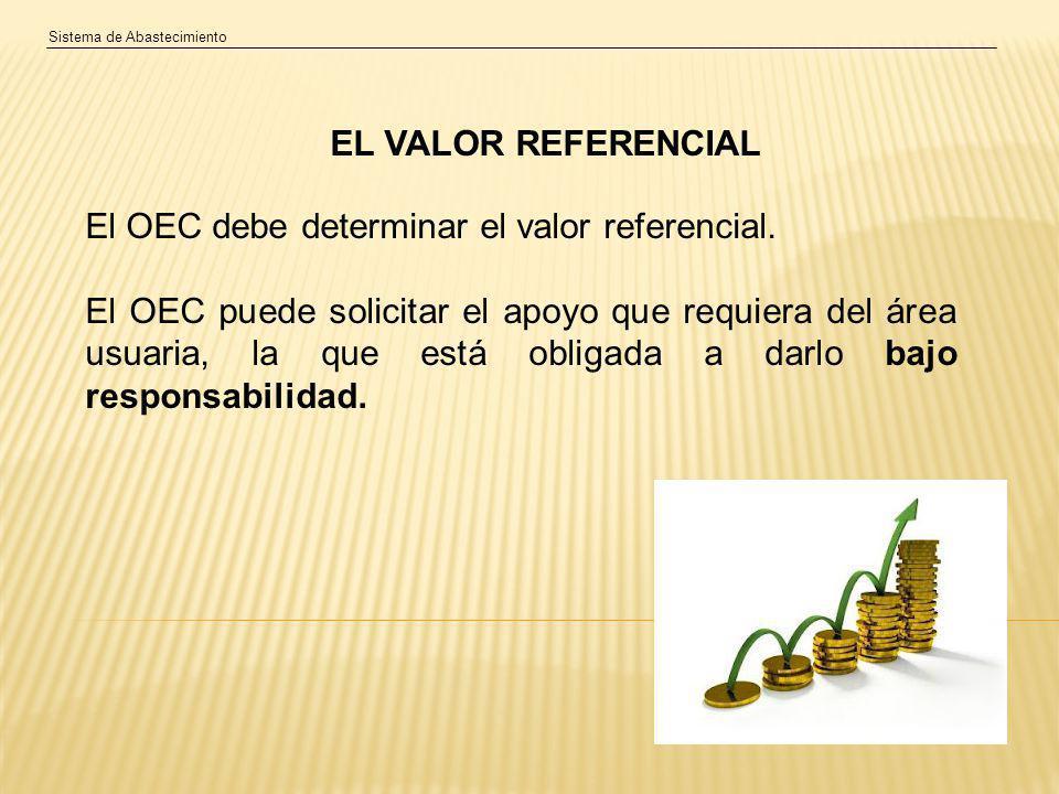Sistema de Abastecimiento EL VALOR REFERENCIAL El OEC debe determinar el valor referencial.