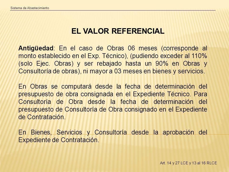 Sistema de Abastecimiento EL VALOR REFERENCIAL Antigüedad: En el caso de Obras 06 meses (corresponde al monto establecido en el Exp.