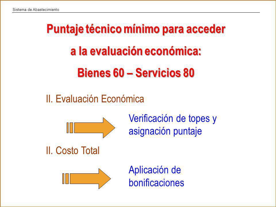 Puntaje técnico mínimo para acceder a la evaluación económica: Bienes 60 – Servicios 80 II.