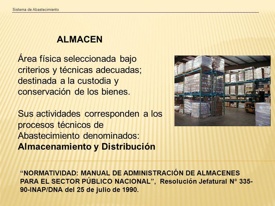 Sistema de Abastecimiento ALMACEN Área física seleccionada bajo criterios y técnicas adecuadas; destinada a la custodia y conservación de los bienes.