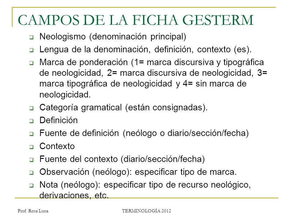 Prof. Rosa Luna TERMINOLOGÍA 2012 CAMPOS DE LA FICHA GESTERM Neologismo (denominación principal) Lengua de la denominación, definición, contexto (es).