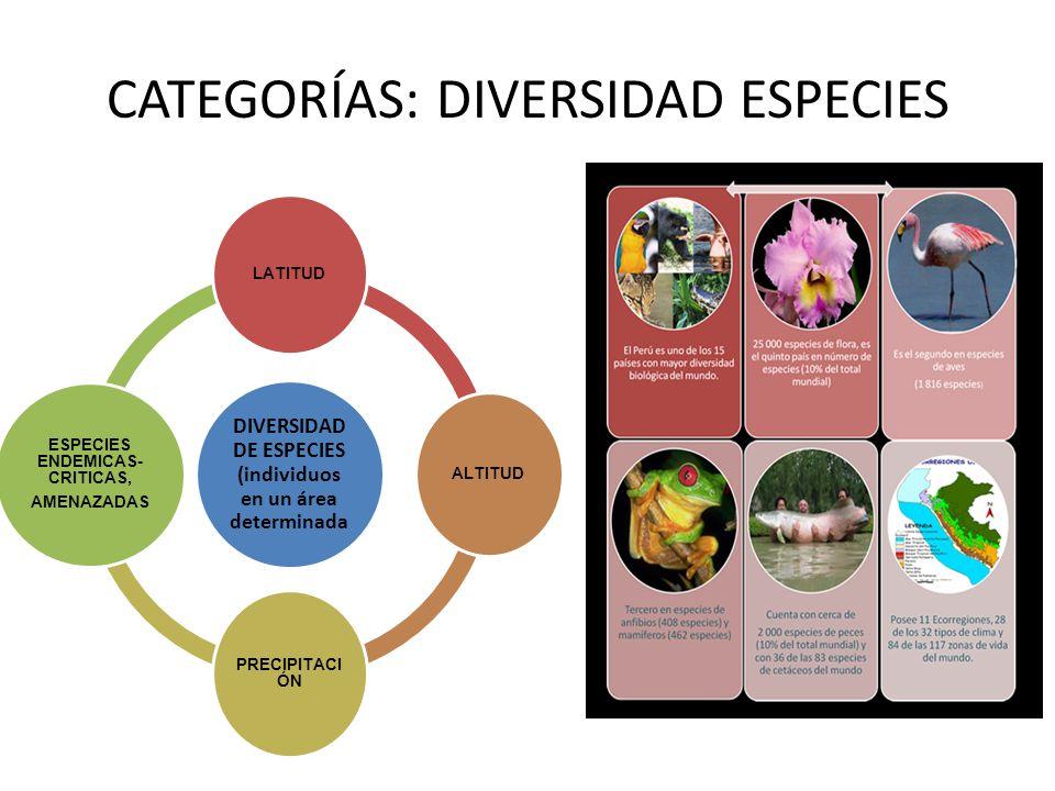 CATEGORÍAS: DIVERSIDAD ESPECIES DIVERSIDAD DE ESPECIES (individuos en un área determinada LATITUD ALTITUD PRECIPITACI ÓN ESPECIES ENDEMICAS- CRITICAS,