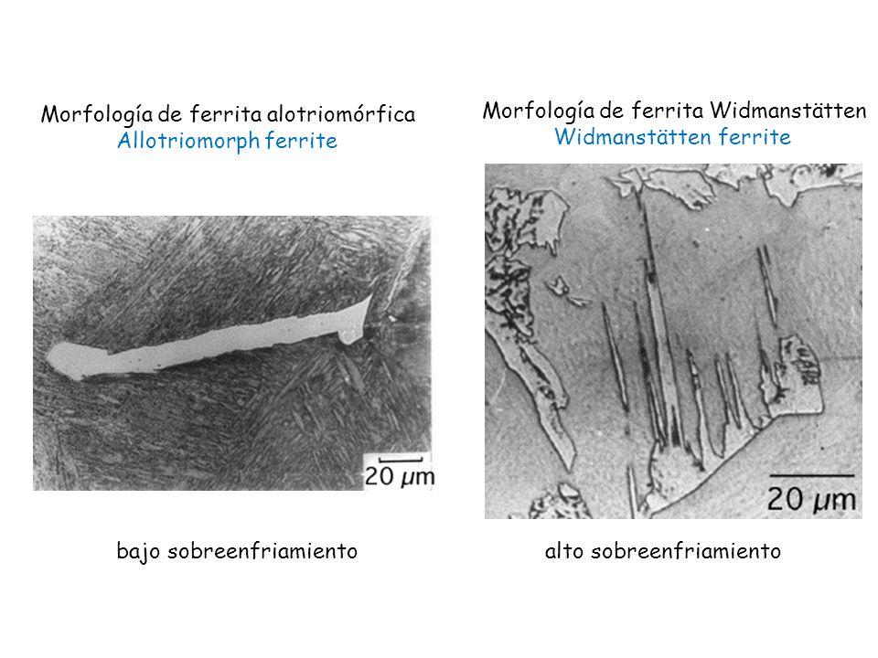 Morfología de ferrita Widmanstätten Widmanstätten ferrite Morfología de ferrita alotriomórfica Allotriomorph ferrite bajo sobreenfriamiento alto sobre