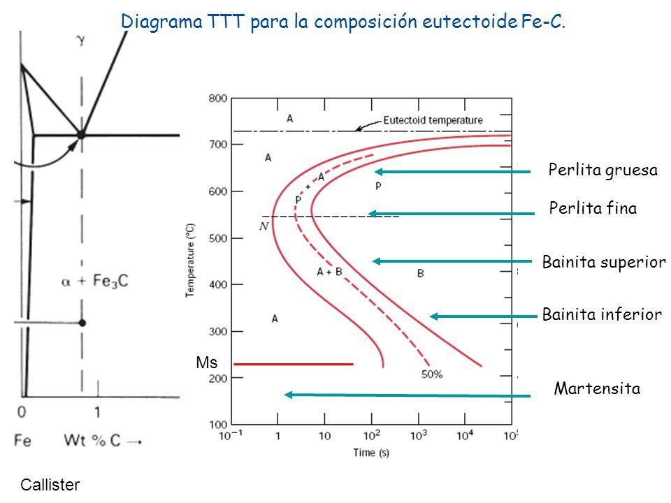 Diagrama TTT para la composición eutectoide Fe-C. Callister Perlita gruesa Perlita fina Bainita superior Bainita inferior Ms Martensita