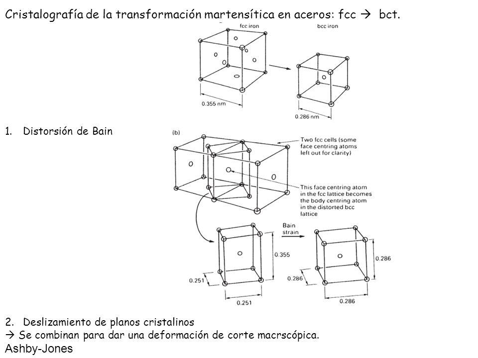Cristalografía de la transformación martensítica en aceros: fcc bct. 1.Distorsión de Bain 2.Deslizamiento de planos cristalinos Se combinan para dar u