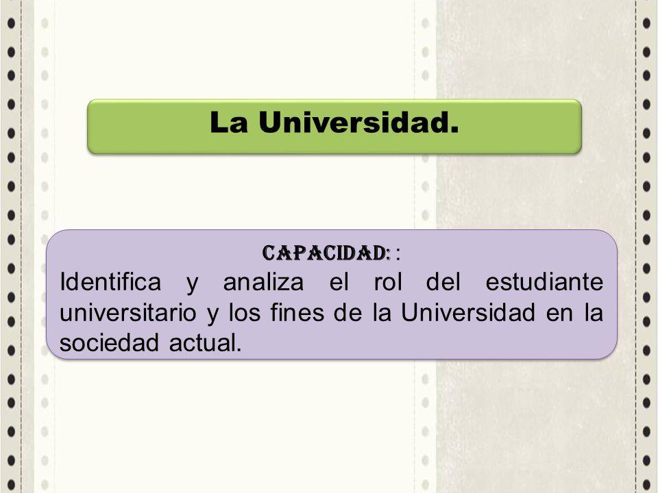 La Universidad. CAPACIDAD: : Identifica y analiza el rol del estudiante universitario y los fines de la Universidad en la sociedad actual. CAPACIDAD: