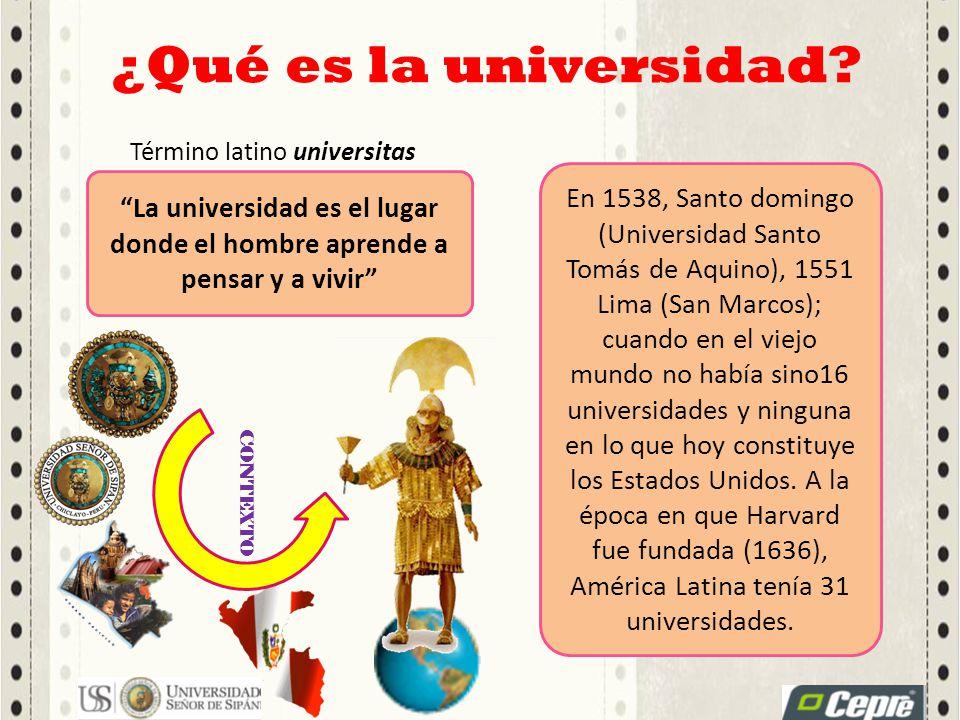 ¿Qué es la universidad? Término latino universitas La universidad es el lugar donde el hombre aprende a pensar y a vivir En 1538, Santo domingo (Unive