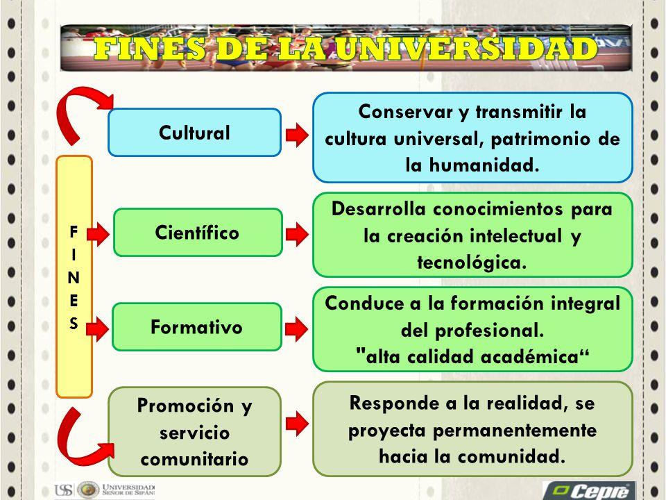 Conservar y transmitir la cultura universal, patrimonio de la humanidad. Desarrolla conocimientos para la creación intelectual y tecnológica. Responde