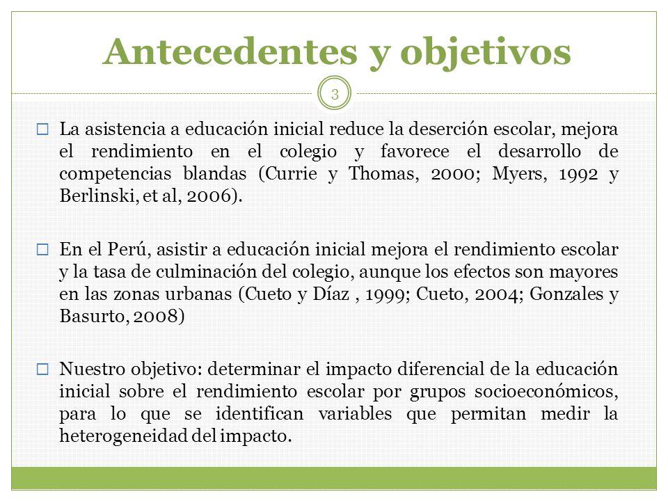 Variables que aproximan la heterogeneidad Lengua materna: aproxima etnia Chong y Ñopo (2007): gran diversidad de etnias reduce impacto de políticas sociales, por: Dificultad de acceso.