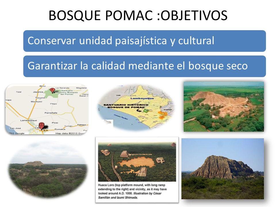 BOSQUE POMAC :OBJETIVOS Conservar unidad paisajística y culturalGarantizar la calidad mediante el bosque seco