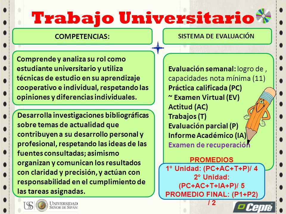 Comprende y analiza su rol como estudiante universitario y utiliza técnicas de estudio en su aprendizaje cooperativo e individual, respetando las opiniones y diferencias individuales.