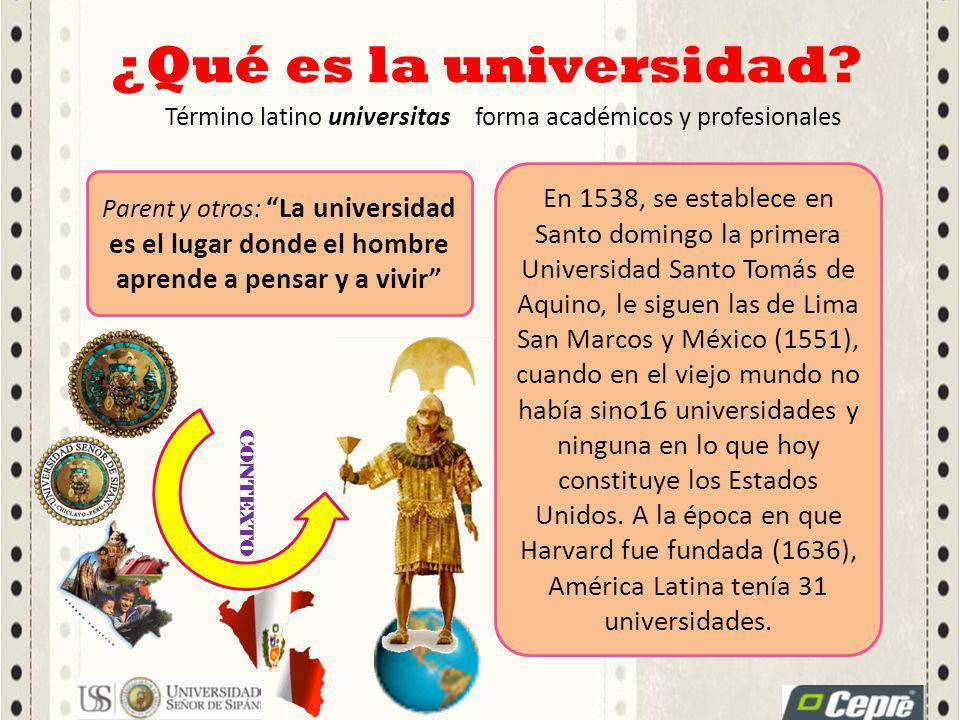 ¿Qué es la universidad? Término latino universitasforma académicos y profesionales Parent y otros: La universidad es el lugar donde el hombre aprende